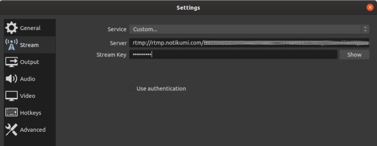 Configuración URL emisión en OBS Studio